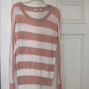 Forever 21 Pink and White Small Striped Sweater